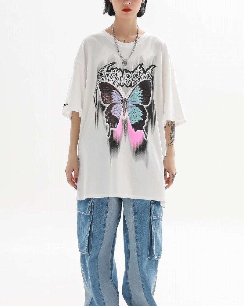 《2色》バタフライメタルロゴTシャツの画像3